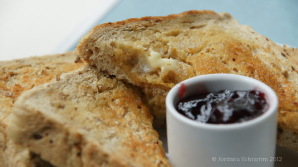 Rustic toast with jam