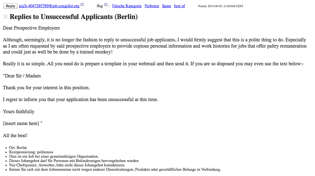Regret Letter For Unsuccessful Applicants