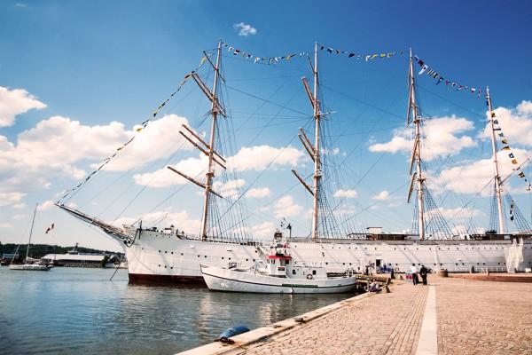 dreimaster, sailing boat, harbour