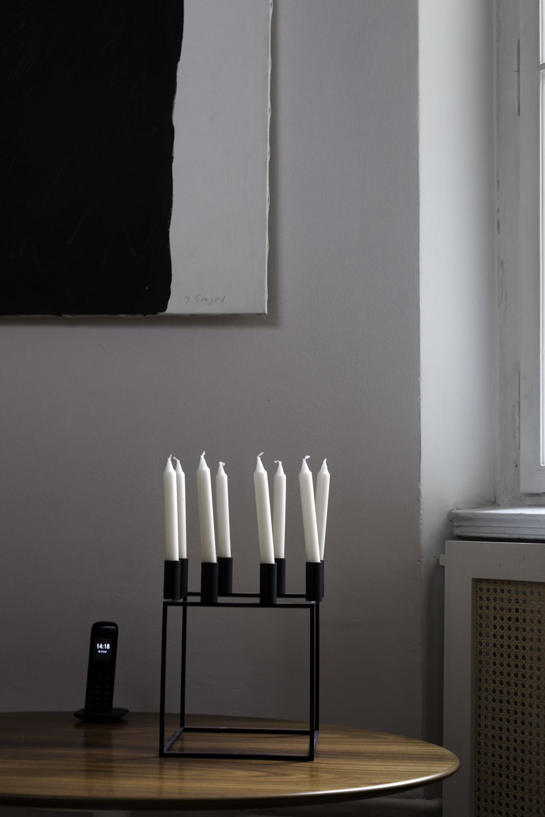 black and white, art and candles