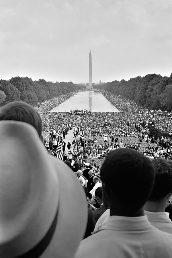 Crowds surrounding the Reflecting Pool, during the 1963 March on Washington.